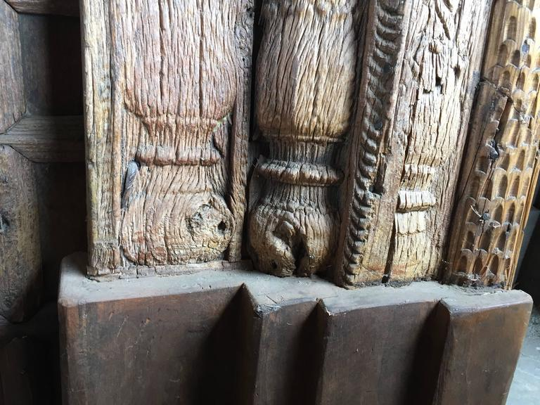 18th Century and Earlier Vintage Carved Wooden Door Panels For Sale