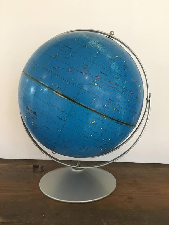 Celestial globe by Repogle, circa 1971, created in honor of Lunar Launch and named for Apollo space program.