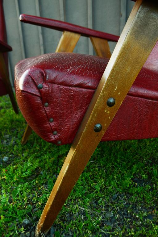 Vintage Red Leather Armchairs, circa 20th Century In Good Condition For Sale In Napa, CA