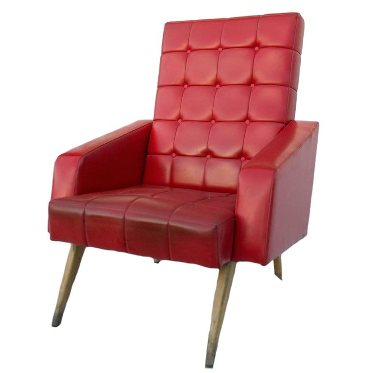 Red Midcentury Manufrance Armchair