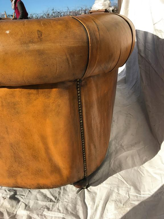 Curved Leather Chesterfield, circa Early 20th Century In Good Condition For Sale In Napa, CA