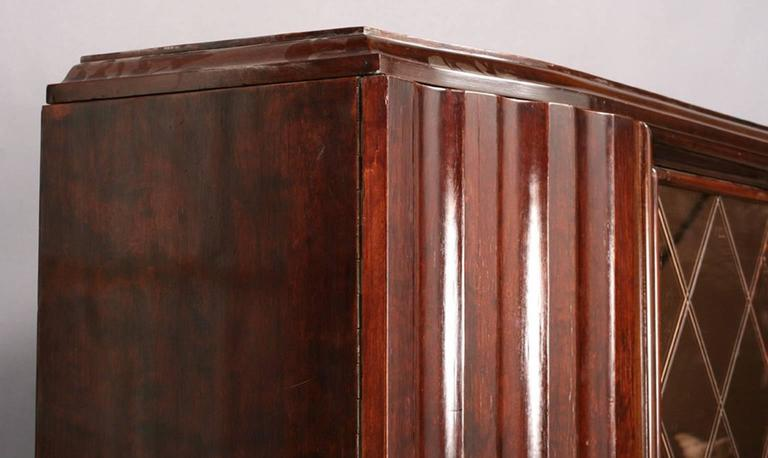 French Art Deco Cabinet with Peach Color Etched Doors For Sale