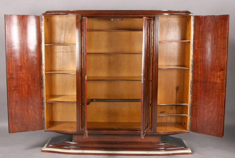 Mid-20th Century Art Deco Cabinet with Peach Color Etched Doors For Sale