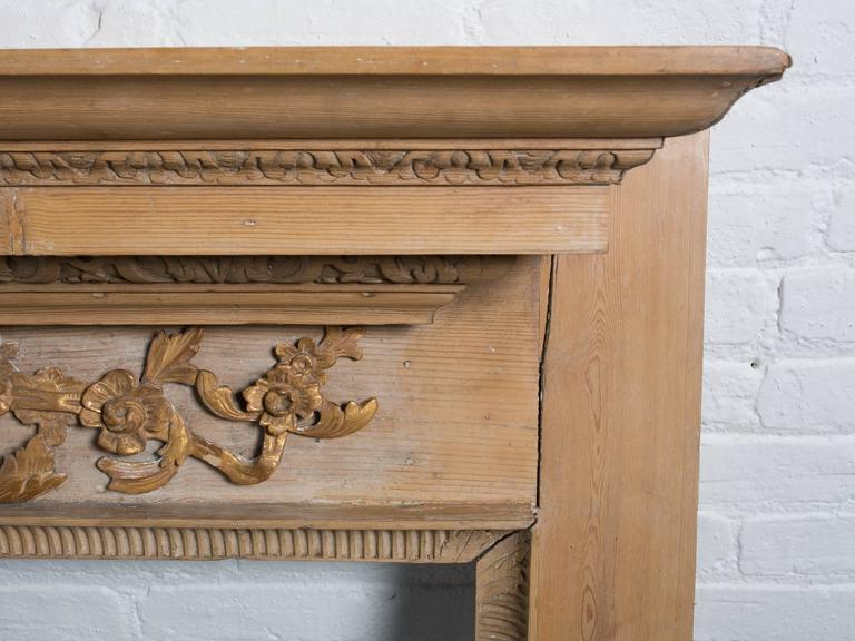 Georgian Style Carved Pined Parcel Gilt Fire Surround For Sale 4