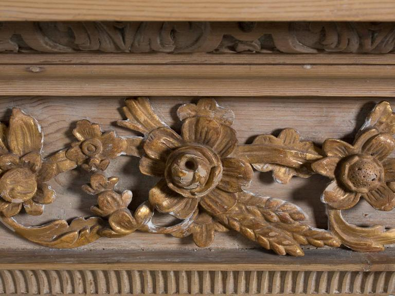 Georgian Style Carved Pined Parcel Gilt Fire Surround For Sale 6