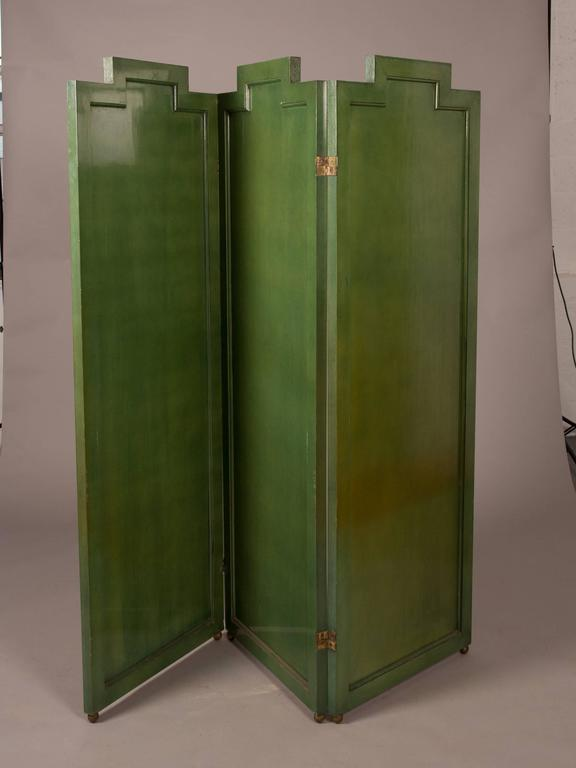 Folding Deco Green Lacquered Screen with Metal Inlay 2