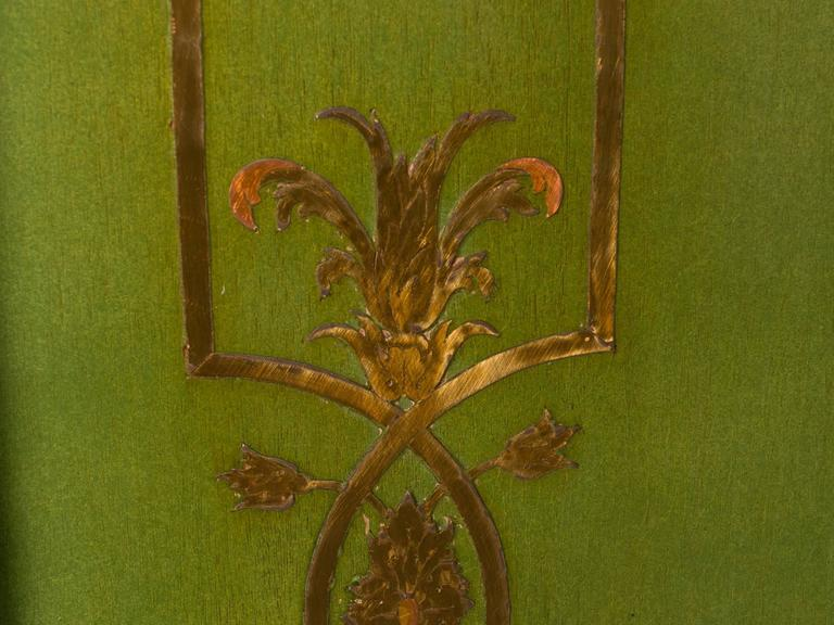 Folding Deco Green Lacquered Screen with Metal Inlay In Good Condition For Sale In New York, NY