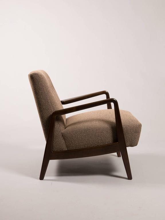 Jens Risom Mid-Century open armchair. Fully restored and newly upholstered in a textural charcoal umber fabric.