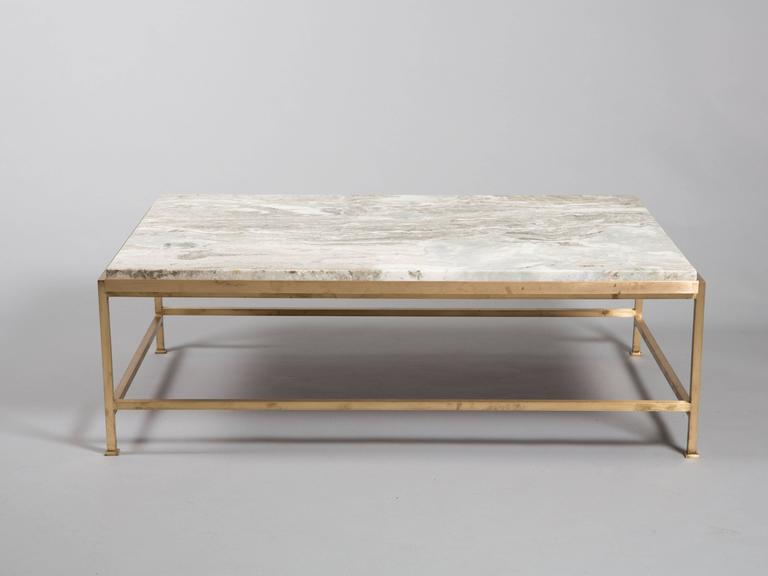 Custom Paul McCobb Brass Coffee Table with Marble Top 2