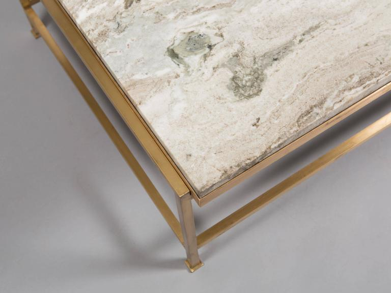 Custom Paul McCobb Brass Coffee Table with Marble Top 6