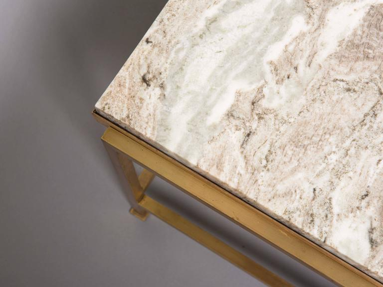 Custom Paul McCobb Brass Coffee Table with Marble Top 10