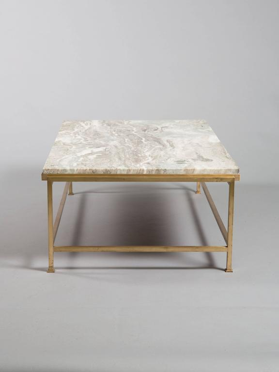 Custom Paul McCobb Brass Coffee Table with Marble Top 3