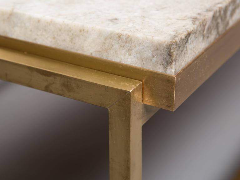 Custom Paul McCobb Brass Coffee Table with Marble Top 9