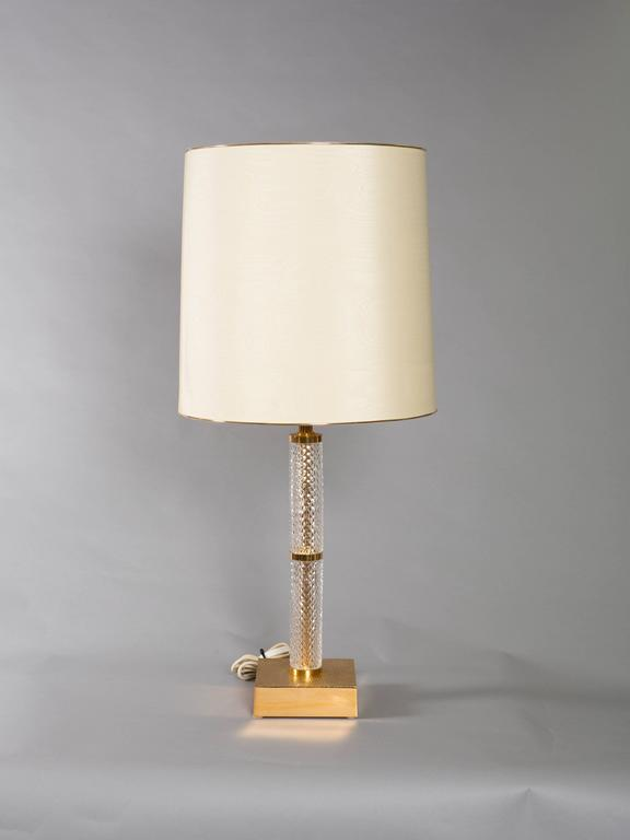 French Mid-Century Cut Crystal and Brass Table Lamps 2