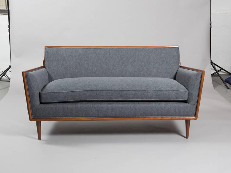 American Robsjohn-Gibbings Style Mid-Century Modern Settee For Sale