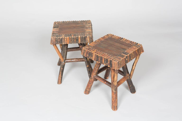 Pair of Natural Wood Adirondack Stools For Sale 3