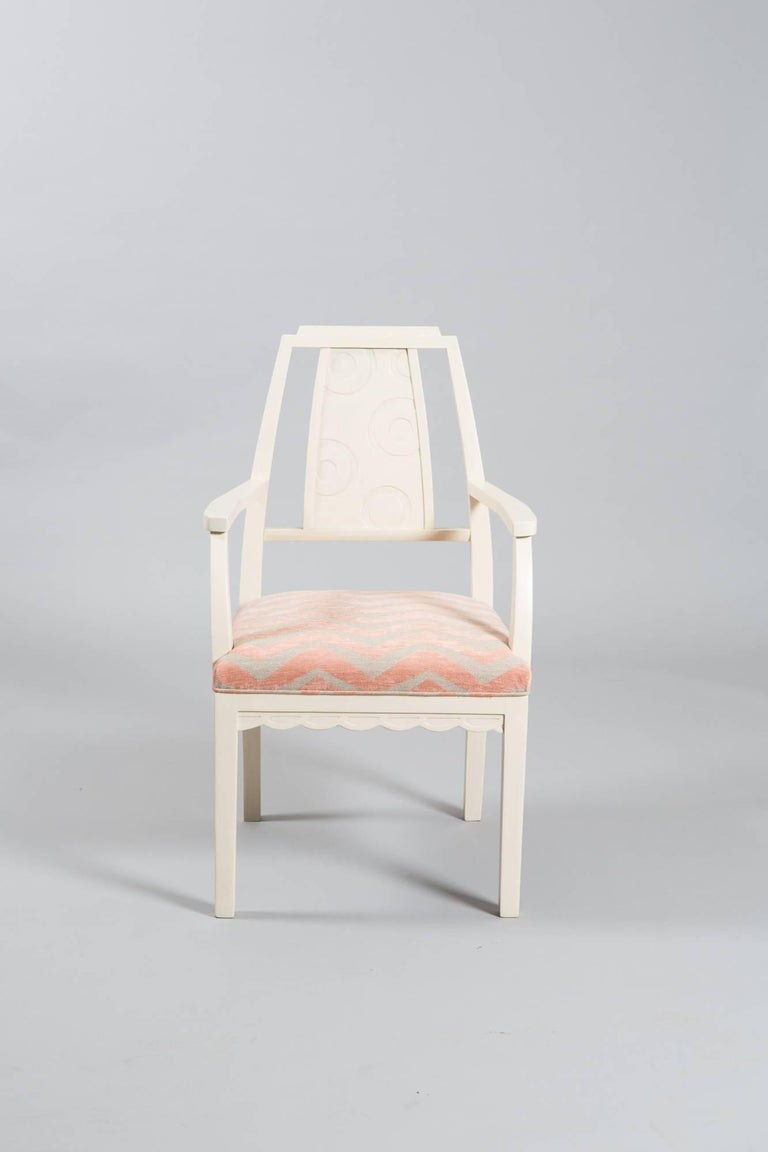 1930s white painted Art Deco armchair with carved detail to back and great apron detailing. Newly restored with a beautiful Chenille fabric.