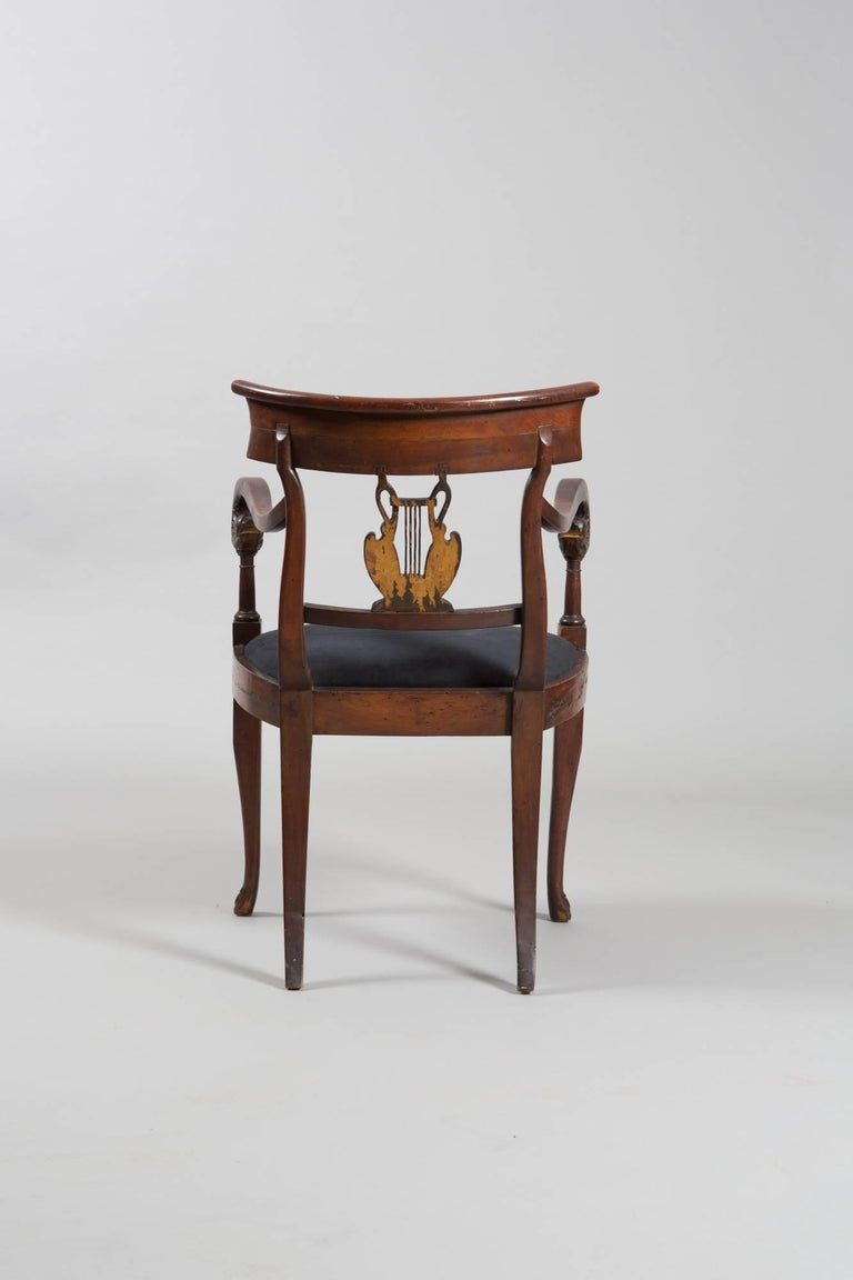 19th Century Directoire Style with Gilt Swan Carved Back 4