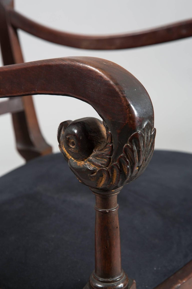 19th Century Directoire Style with Gilt Swan Carved Back For Sale 3