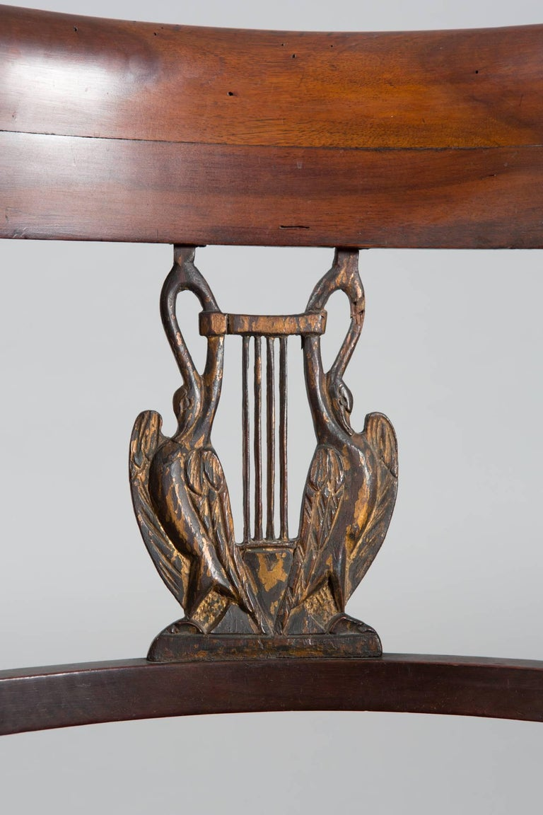 19th Century Directoire Style with Gilt Swan Carved Back 5