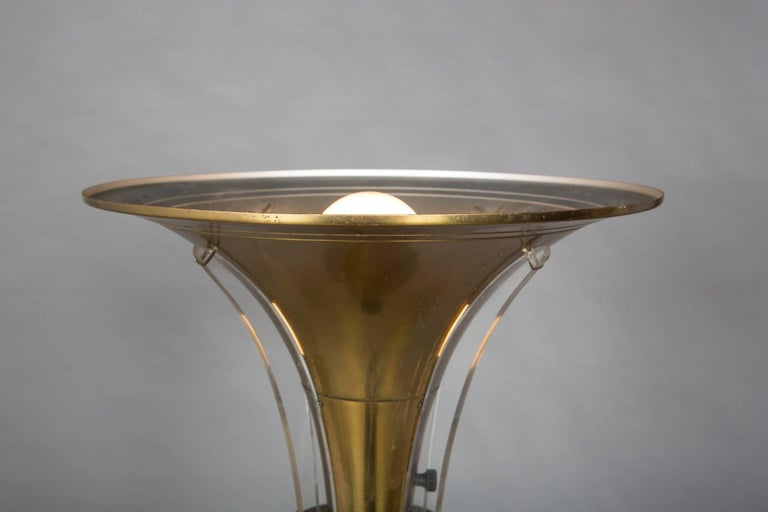 """1930s Art Deco Floor Lamp with Acrylic """"Wing"""" Details For Sale 4"""