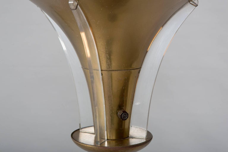 """American 1930s Art Deco Floor Lamp with Acrylic """"Wing"""" Details For Sale"""