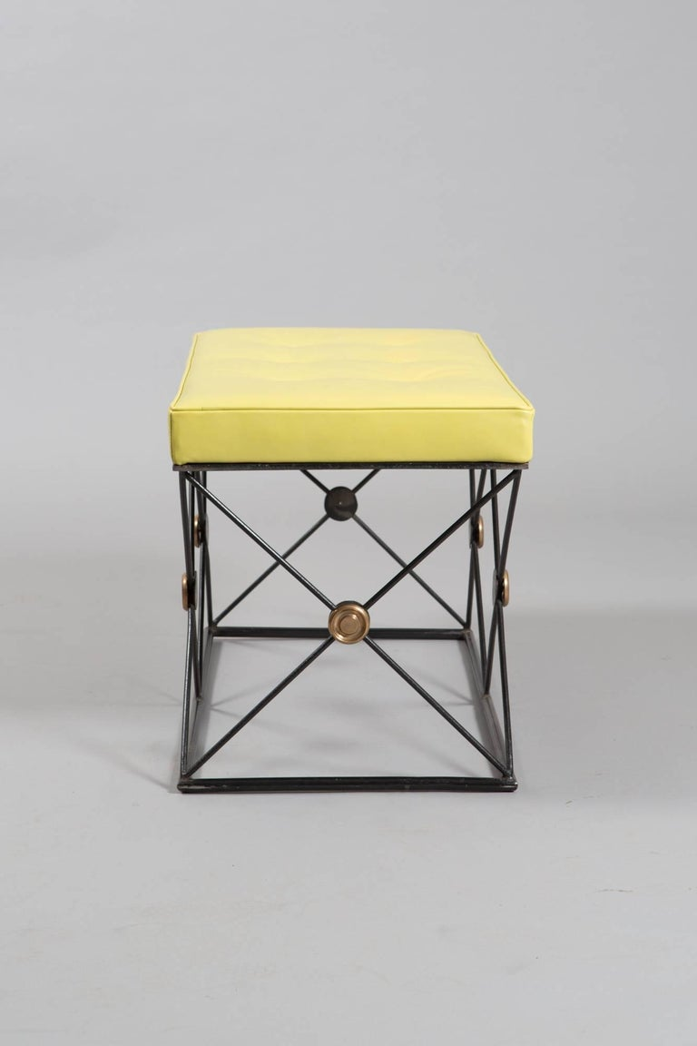 Pair of French Neoclassical Style Green Stools For Sale 1