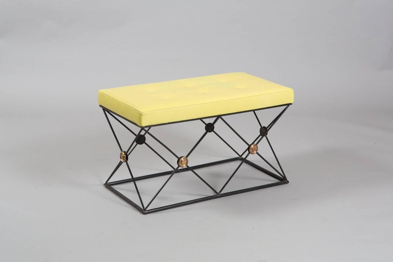 Pair of French tufted lime green stools on metal