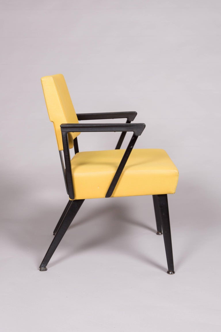 Mid-Century Modern Original Yellow and Black Midcentury Armchairs For Sale