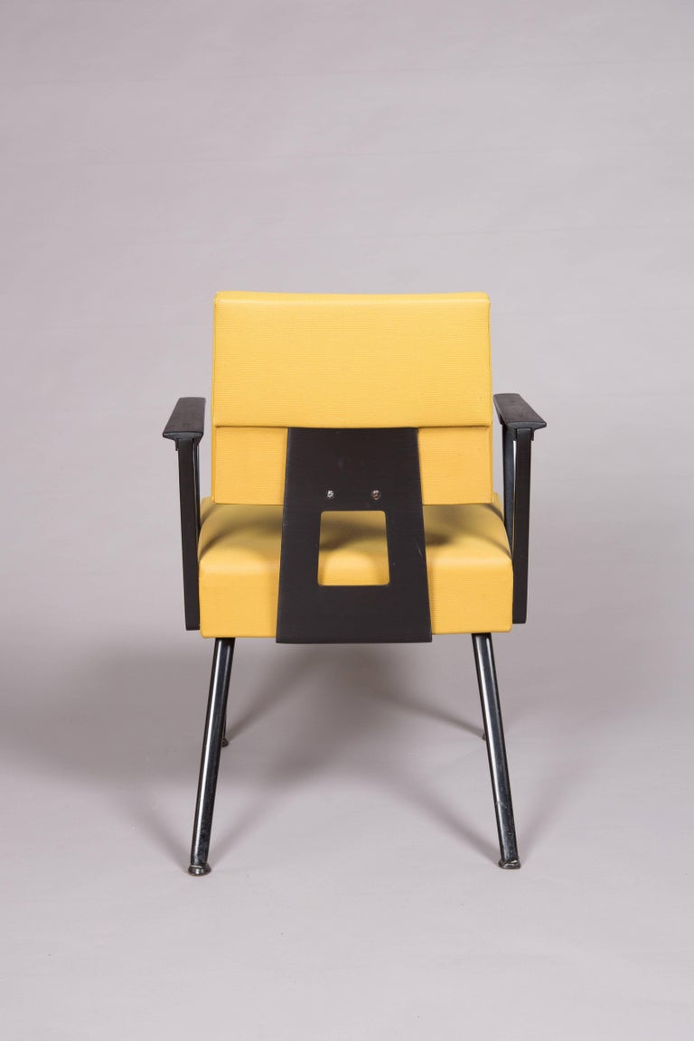 American Original Yellow and Black Midcentury Armchairs For Sale