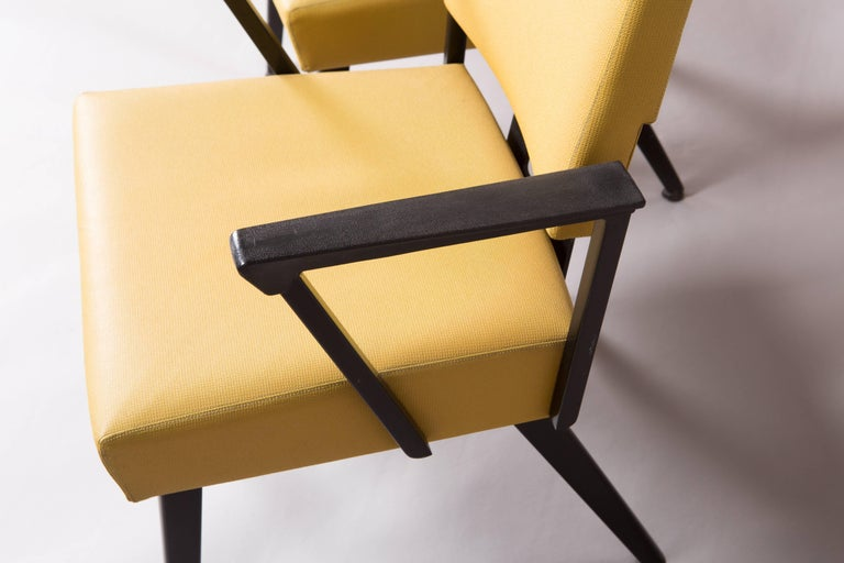 Original Yellow and Black Midcentury Armchairs For Sale 1