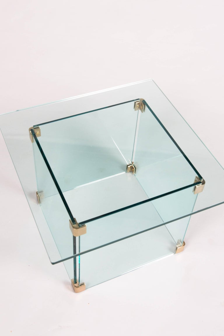 Late 20th Century Sculptural Pace Collection Glass and Chrome Side Table For Sale