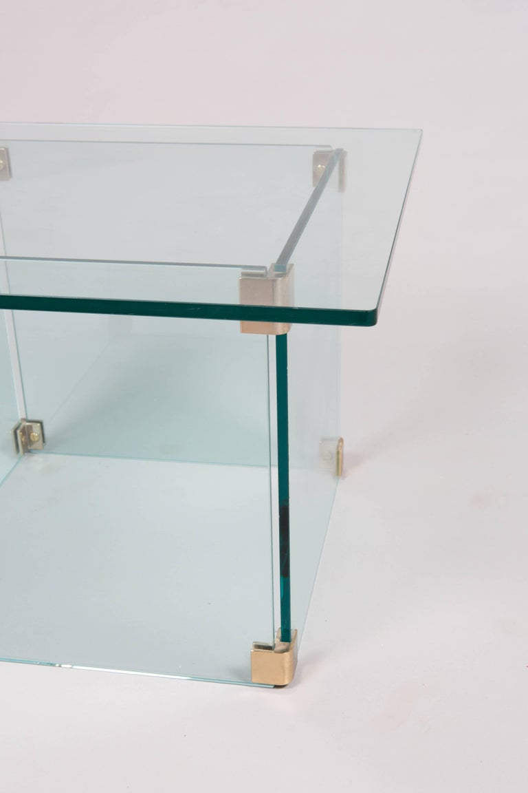 Mid-Century Modern Sculptural Pace Collection Glass and Chrome Side Table For Sale
