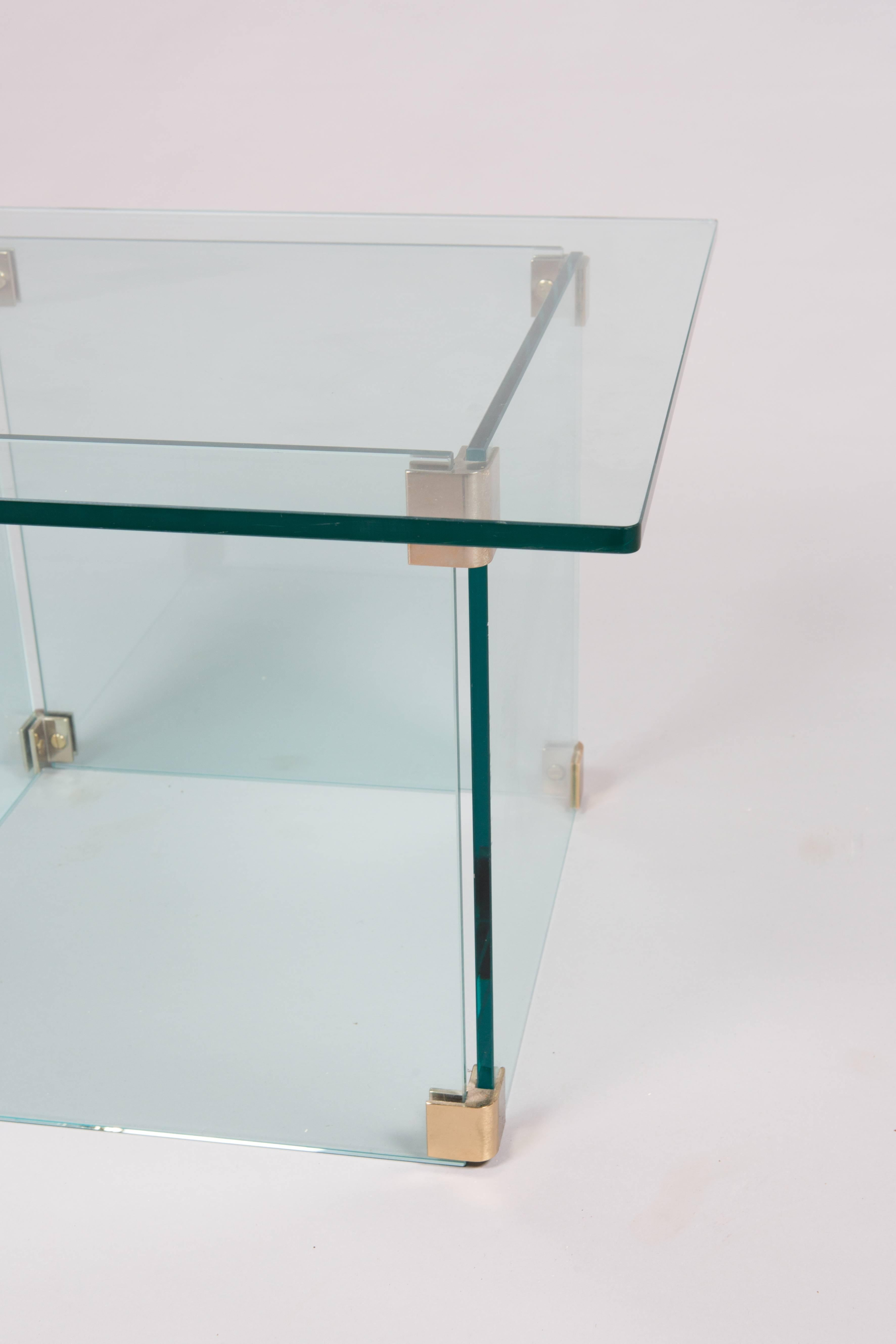 Mid Century Modern Sculptural Pace Collection Glass And Chrome Side Table  For Sale