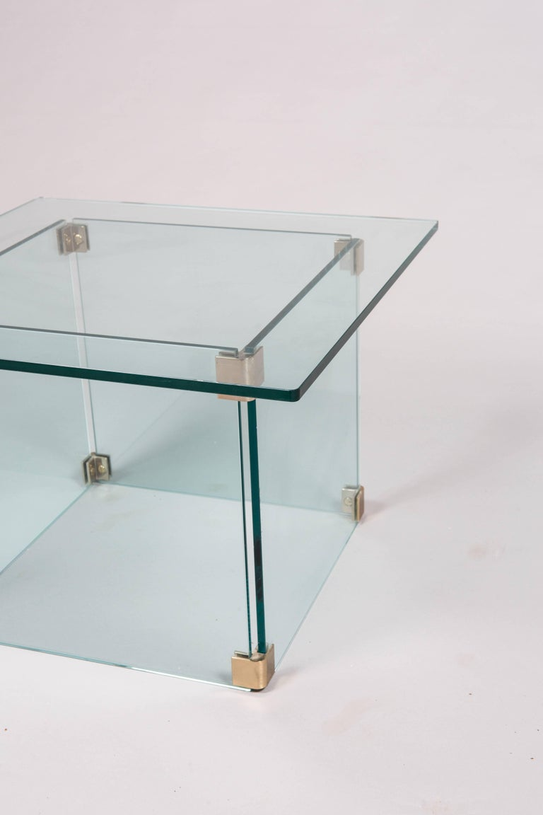 American Sculptural Pace Collection Glass and Chrome Side Table For Sale