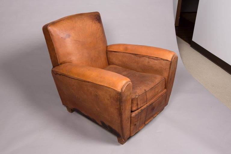 Mid-Century Modern 1970s Beautifully Distressed Beat-Up Leather Chair For Sale