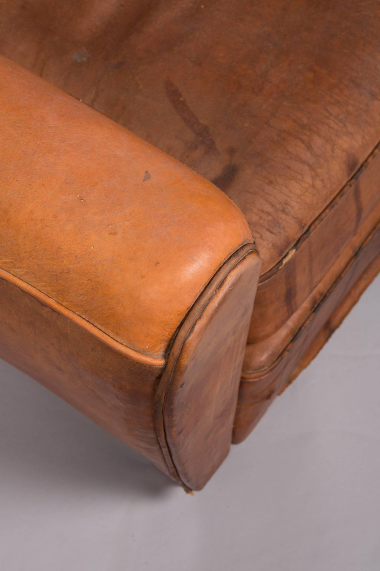 1970s Beautifully Distressed Beat-Up Leather Chair For Sale 2
