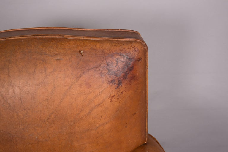 20th Century 1970s Beautifully Distressed Beat-Up Leather Chair For Sale
