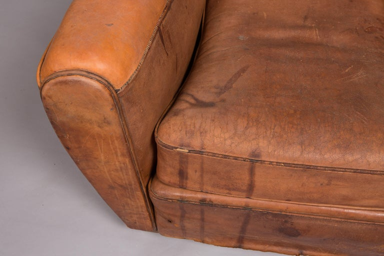 1970s Beautifully Distressed Beat-Up Leather Chair In Distressed Condition For Sale In New York, NY