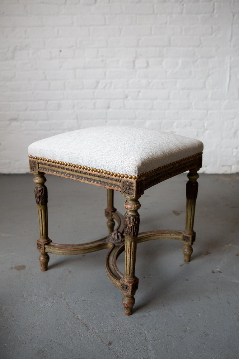 Louis XVI Style Patinated Green Carved Wood Stool For Sale 2