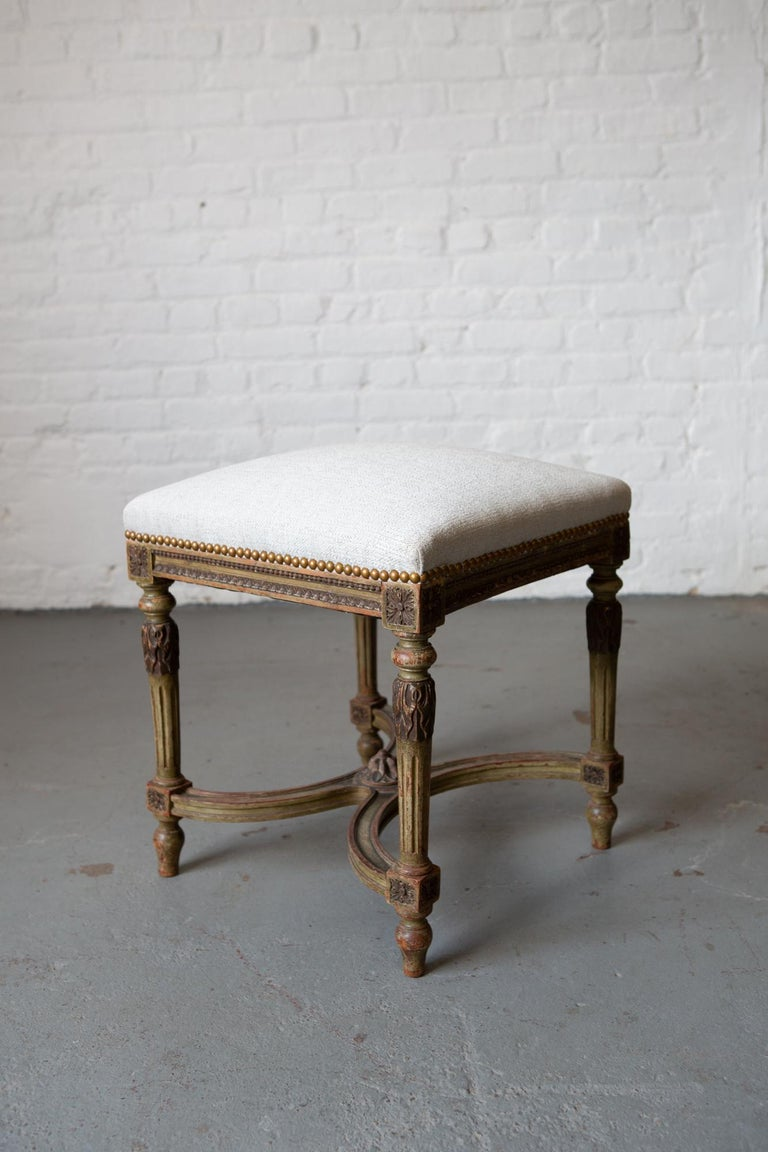 Louis XVI Style Patinated Green Carved Wood Stool For Sale 3