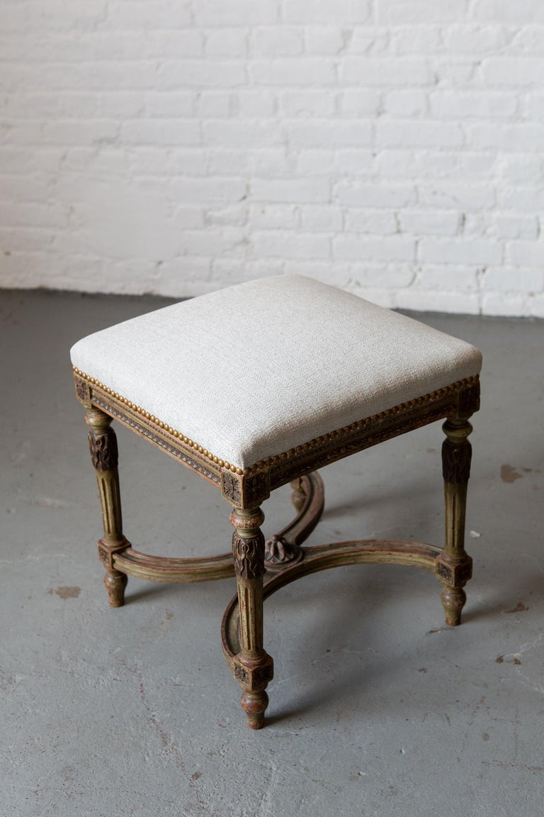 Louis XVI Style Patinated Green Carved Wood Stool For Sale 4