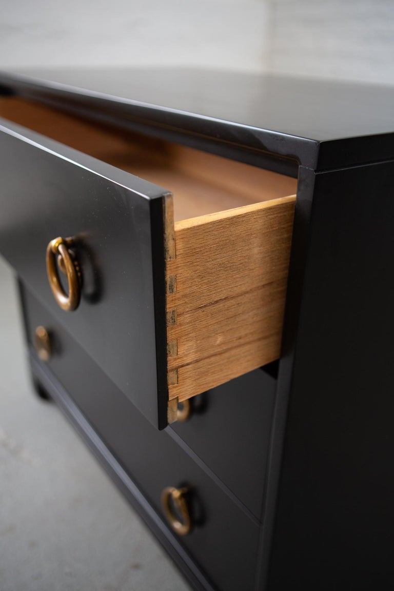 American Midcentury Black Lacquered Chest of Drawers For Sale