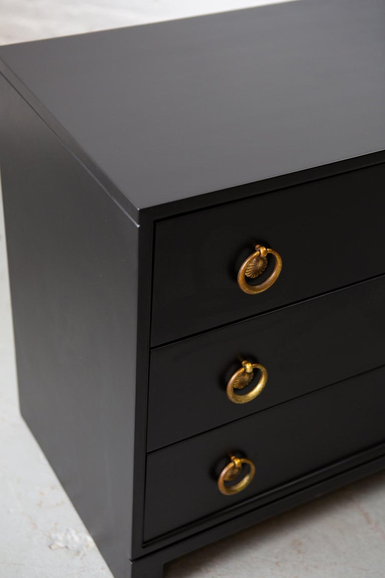 Midcentury Black Lacquered Chest of Drawers For Sale 3
