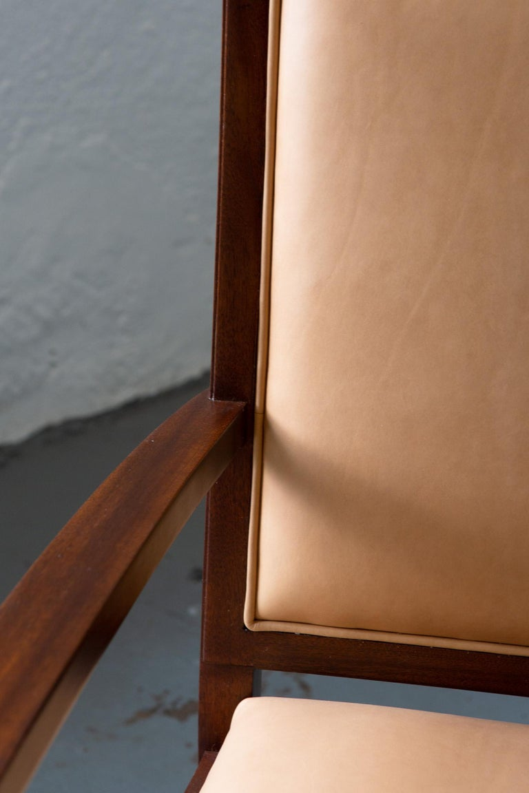 American Custom Art Deco Style Mahogany Armchair For Sale