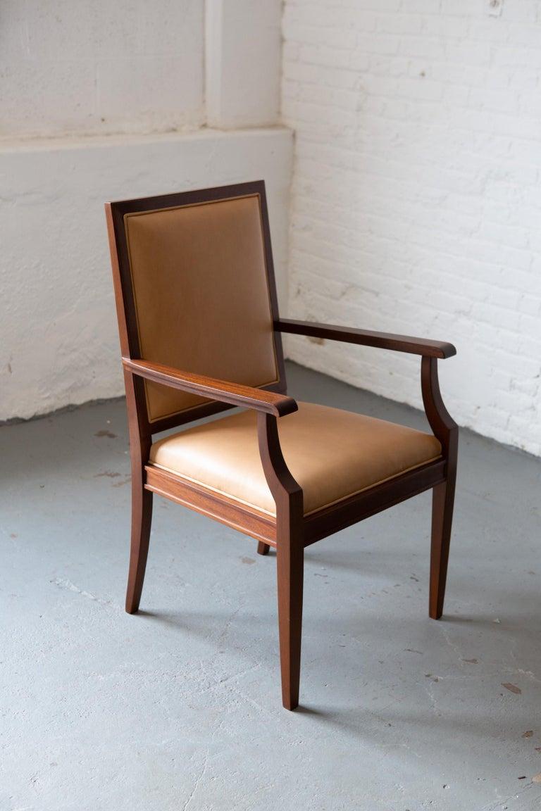 Contemporary Custom Art Deco Style Mahogany Armchair For Sale