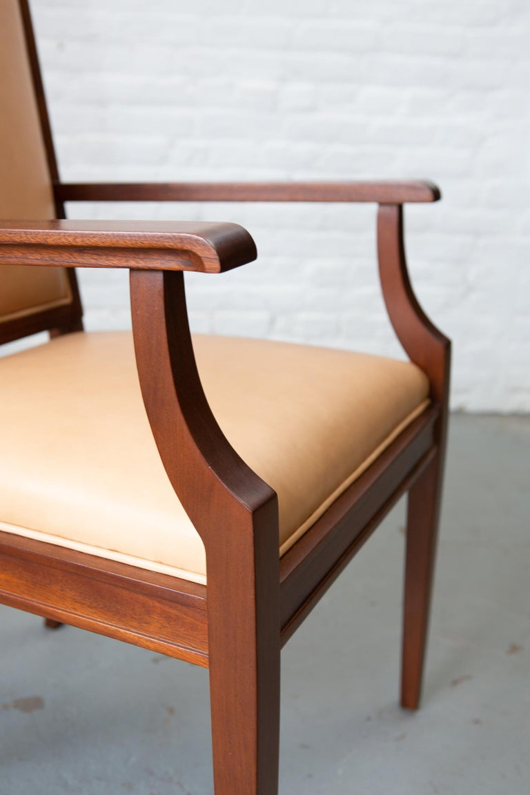 Custom Art Deco Style Mahogany Armchair For Sale 4