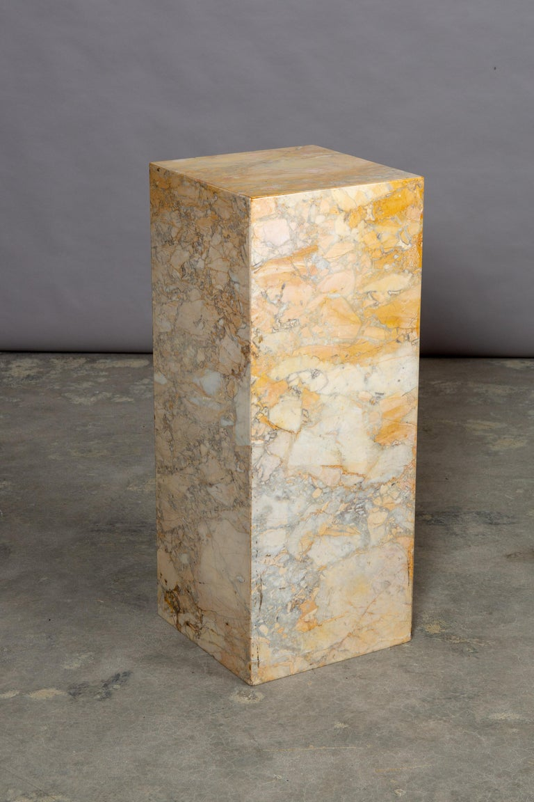 Ochre and Tan Midcentury Marble Italian Pedestal For Sale 2