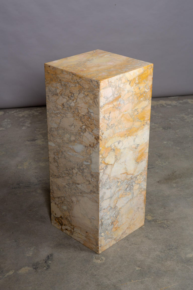 Ochre and Tan Midcentury Marble Italian Pedestal For Sale 3