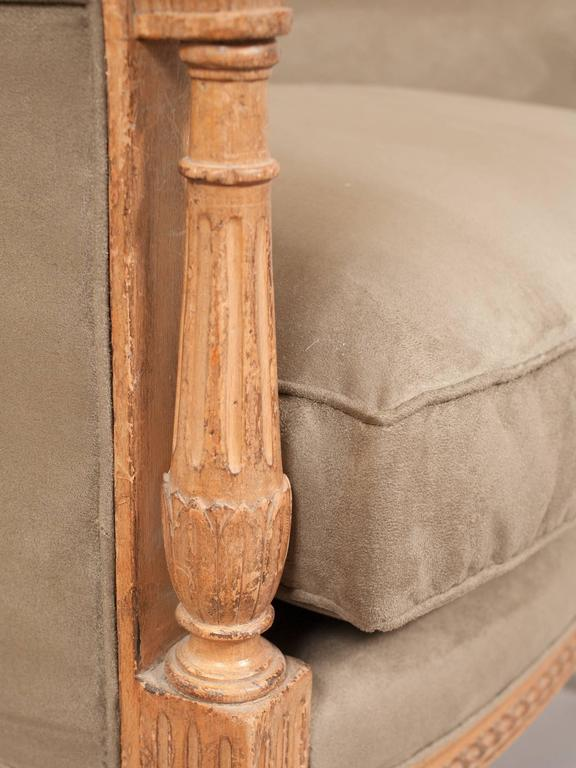 Faux Suede Directoire Style Bergere For Sale 4
